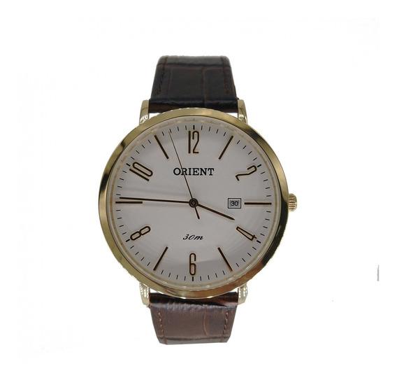 Relógio Orient Masculino Dourado Pulseira Couro