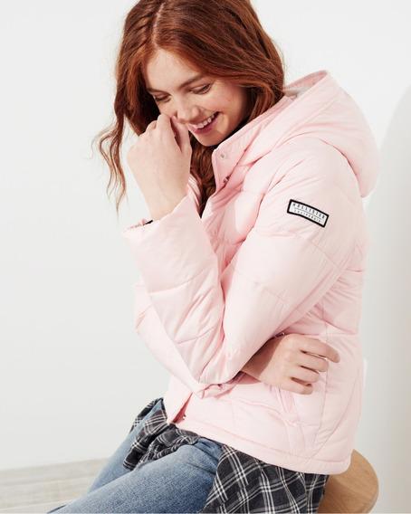 Blusa De Frio Feminina Hollister Jaqueta Forrada Rosa Claro 100% Original Importada / Polos Camisas Abercrombie M