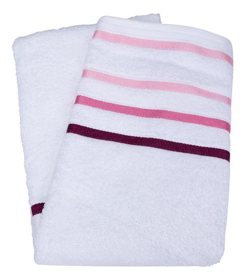 Toalha De Rosto Branco Com Listras Rosa Fio Penteado Teka