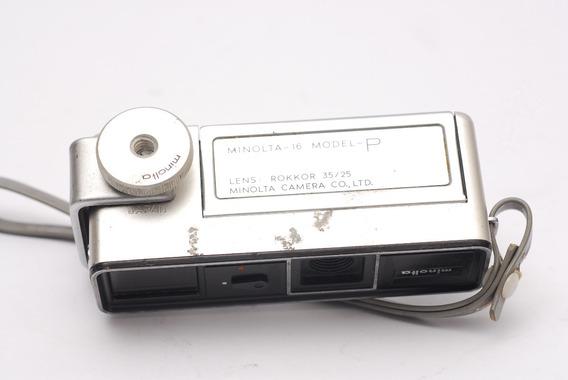 Câmera Minolta 16 Mm Lente Rokkor 35/25 Suporte Flash