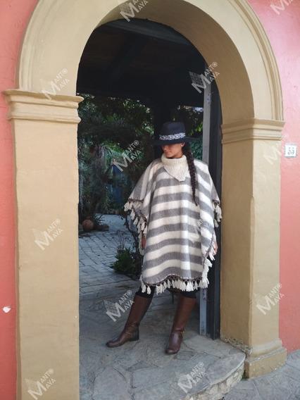 Poncho/ Mañanita/ Algodón Afelpado Artesanal Mexicana