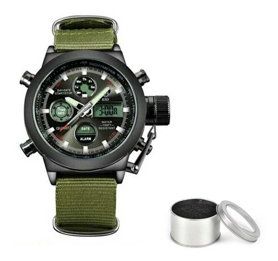 Relógio Esportivo Militar Analógico E Digital Golden Hour