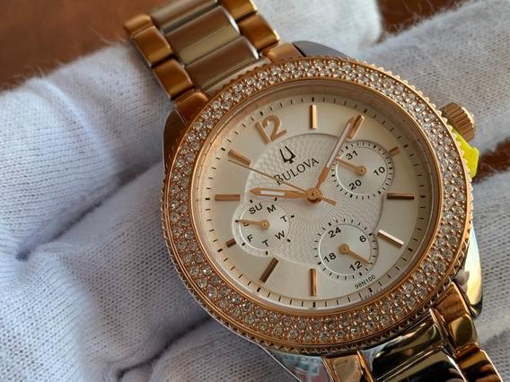 Relógio Bulova Swarovski Crystal Women Silver Gold 98n100