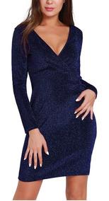 Vestido De Fiesta Elegante Con Brillantes Color Azul Pm04