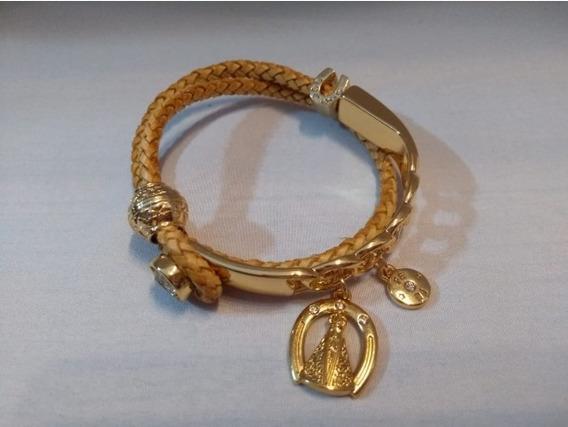 Pulseira Bracelete Flor De Lis Com Couro Semi Joia Numero 24