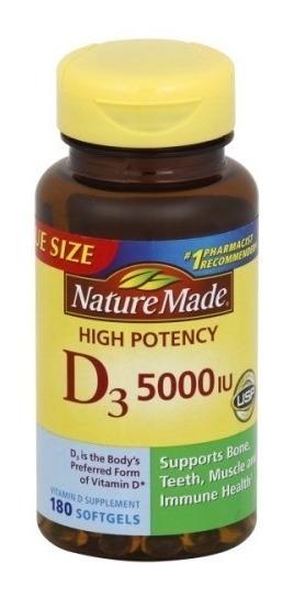 D3 5000iu - Nature Made - 180 Softgels