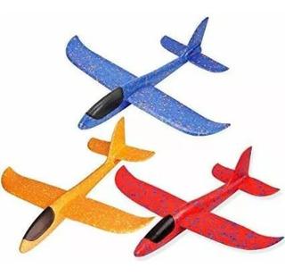 Avión Planeador De Espuma Mas Luces Led 48 Cm Flexible