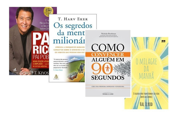 Kit Livros Pai Rico Pai Pobre + O Milagre Da Manhã + Segredo
