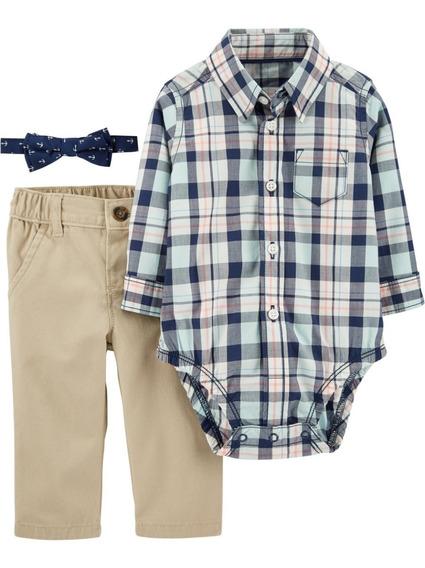 Carters Conjunto Pañalero Moño Jeans Bebe Niño 6 A 24 Meses
