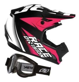 Capacete Trilha Motocross Th1 Jett Mulher + Óculos + Touca