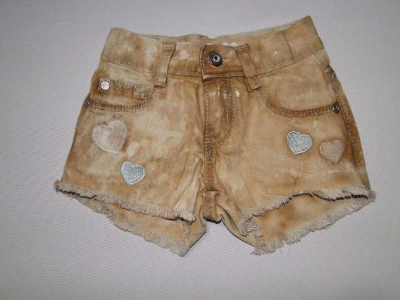 Shorts Infantil Feminino Com Coraçoes Tam 4
