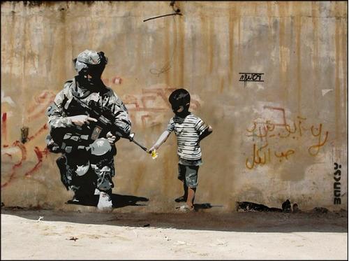 Poster Grafite Banksy 50x65cm Soldado Guerra Paz Arte Urbana
