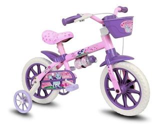 Bicicleta Infantil Feminina Aro 12 Cat - Nathor - Rosa/roxa