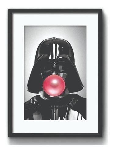 Quadro Darth Vader Chiclete 50x40 Cm C/ Moldura E Vidro Swb