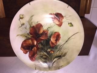 Prato Flores Marrons - Decoração - Pintado - Perfeito