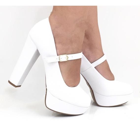 Sapato Scarpin Feminino Meia Pata Salto Alto Grosso Branco