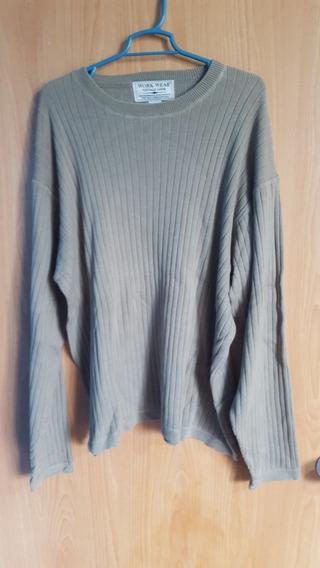 Suéter Work Wear Verde Cemento +100%algodón Nuevo