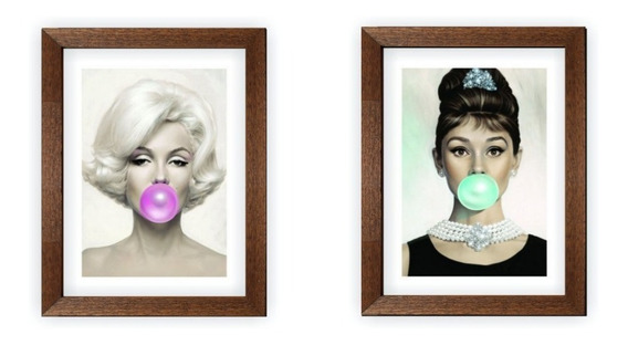 Kit Quadros Marilyn Monroe E Audrey Hapburn Chiclete 20x30cm
