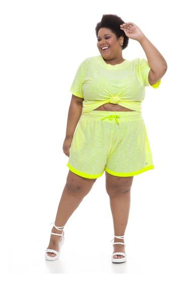 Pré Venda Shorts Plus Size Wonder Moletinho Amarelo Neon