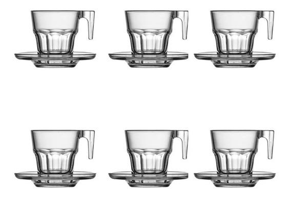 Set X 6 Tazas Con Plato Cafe Espresso Vidrio Pc