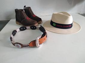 Conjunto Peão Bota Botina + Chapéu Aba Curta + Cinto Luxo