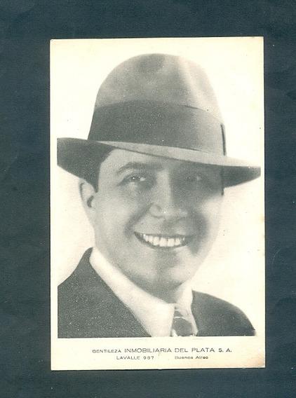 Antigua Tarjeta Publicitaria . Carlos Gardel .