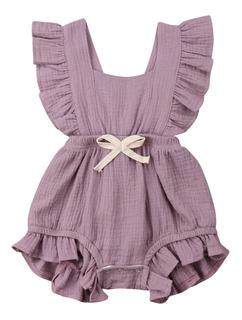 Jumpsuit Vestido Niña Bebé Romper Verano Pañalero Manga Olán