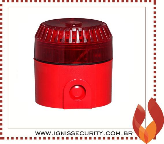 Sirene Áudiovisual Vermelha Convencional 12v Sav12-c Ilumac