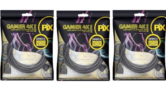 3 Cabos Hdmi 2.0 4k Gamer Plug 90 Graus 3 Metros 018-0121