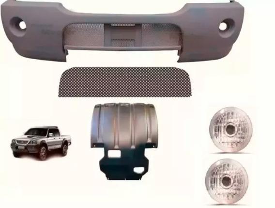Parachoque Dt + Tela + Protetor + Par Pisca L200 Outdoor Gls