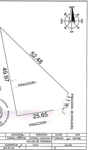 Imagen 1 de 14 de Terreno En Cerrada A La Puerta De Conkal 844.91m2 - Pueblo Conkal
