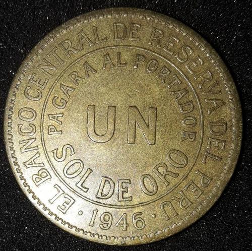 Imagem 1 de 2 de Moeda Un Sol De Oro Ano 1946 Peru