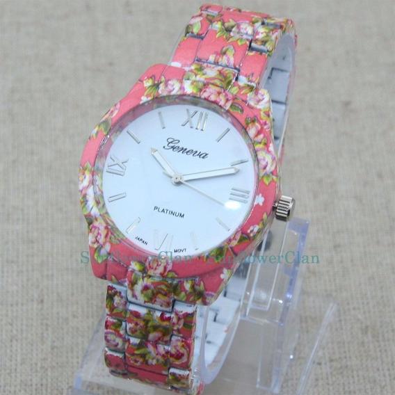 Relógio De Pulso Estampado Flores Moda Feminino Cor Vermelho