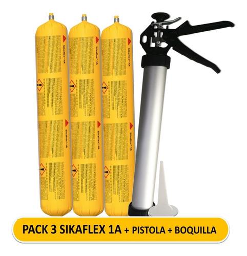 Imagen 1 de 7 de Pack 3 Sikaflex 1a Gris + Pistola Tubular + Boquilla
