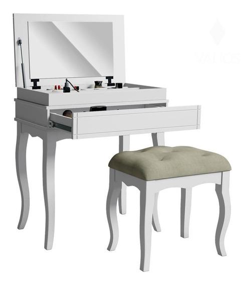 Penteadeira Escrivaninha Com Gaveta E Espelho + Banqueta