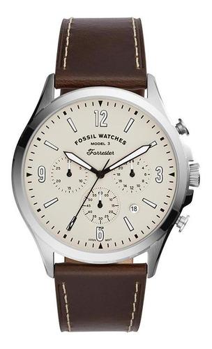 Relógio Masculino Fossil Fs5696/0pn 46mm Couro Marrom