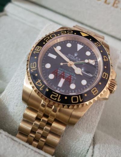 Relógio Preto Dourado 40mm Automático Safira Inox + Caixa