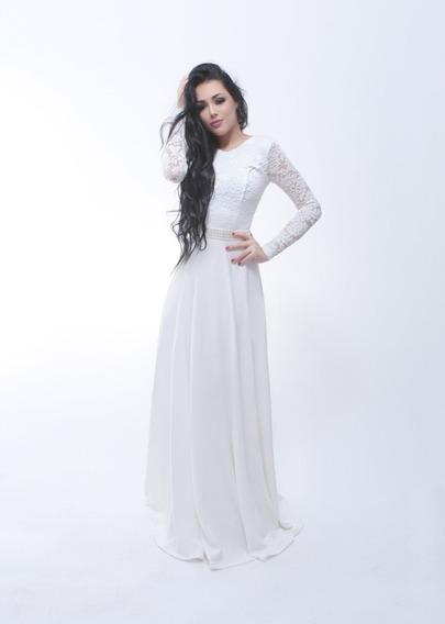 Vestido Longo Noiva Casamento Civil Pre Wedding A110