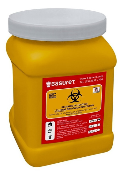 Recipiente Bote Contenedor Para Liquidos Rpbi Amarillo 1.7lt