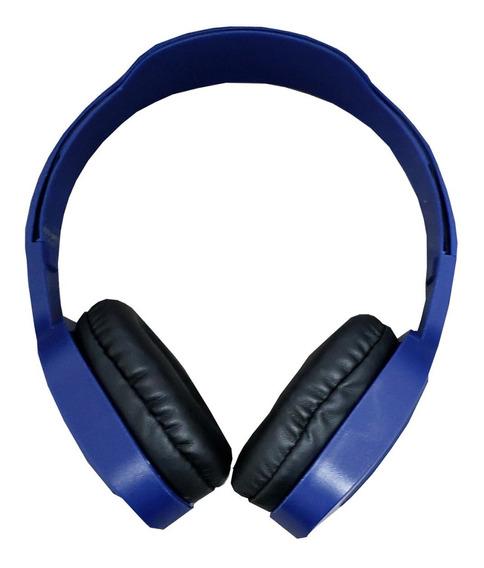 Fone De Ouvido Bluetooth Azul S/fio Rádio Fm Cartãosd Stere