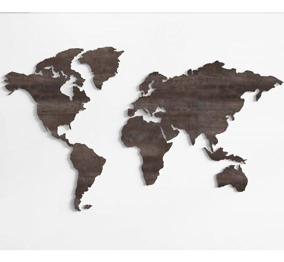 Mi Mundo Mapamundi En Madera Y Melamina Color Industrial