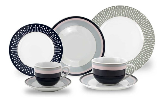 Aparelho De Jantar Porcelana 909 Azul 42 Peças Class Home
