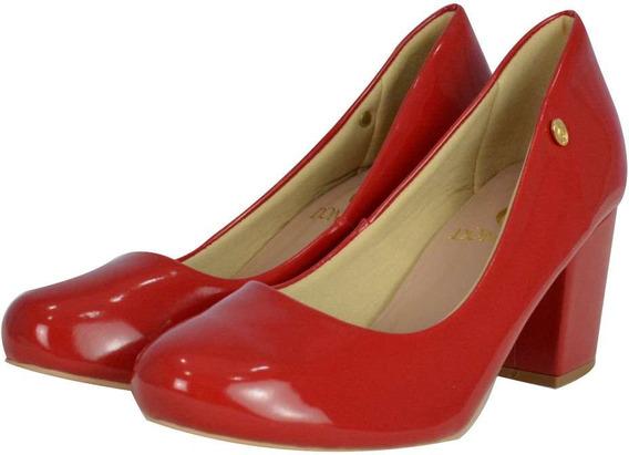 Scarpin Vermelho Salto Quadrado - Oferta