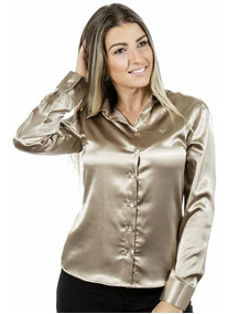 Camisa Feminina Maud Le - Cetim C/ Elastano - Pimenta Rosada