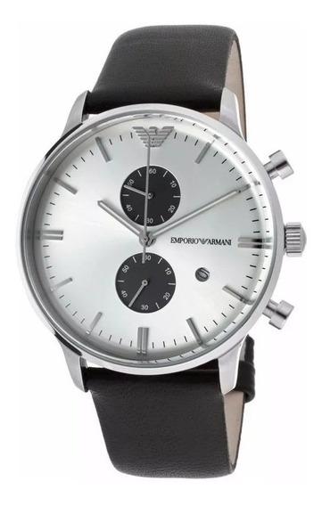 Relógio Rv1856 Emporio Armani Ar0385 Preto Couro Social / Cx