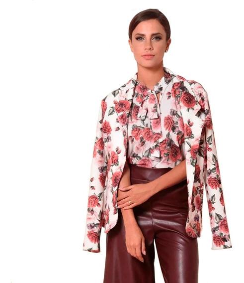 Casaco Blazer Rosa Camilo Alongado Floral Off Com Vermelho