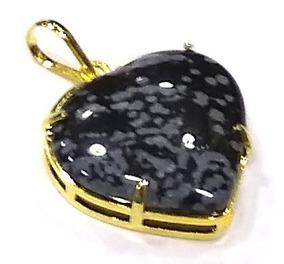 Pingente Coração De Pedra Obsidiana Floco De Neve 2,5cm C9