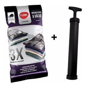 6 Embalagens A Vácuo P/ Roupas + Bomba De Sucção 0,80 X 0,60