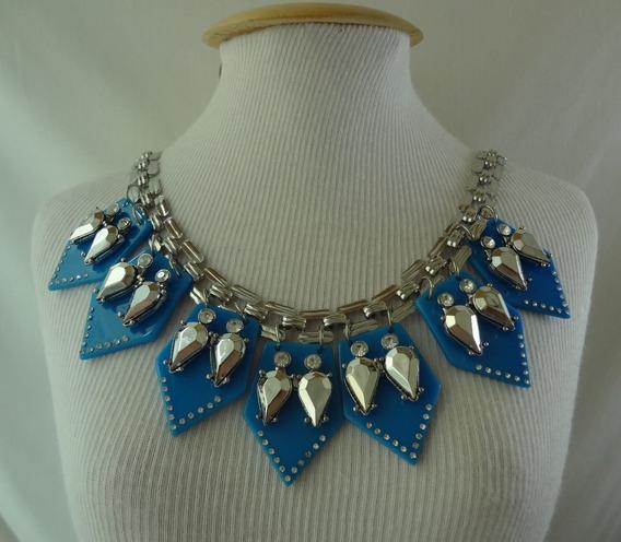 Maxi Colar Azul Com Pedras Prateada Cmx 68