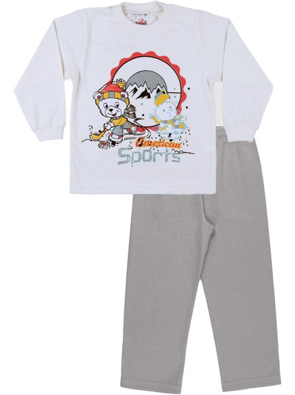Pijama Bebê Menino Meia Malha Longo Inverno Calça E Camiseta